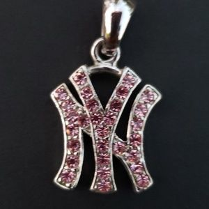 New York Yankees pink rhinestone necklace charm